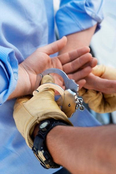 Criminal being handcuffed in Vancouver WA